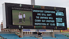 Wet outfield means another day lost...