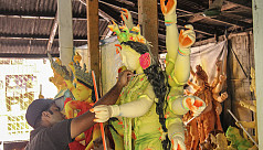 Chittagong artisans busy sculpting Durga...