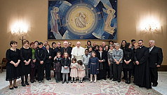 Pope Francis meets family members of...
