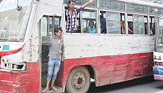 Drive against old buses on city roads...