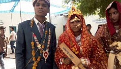 Indian brides get wooden paddles to...