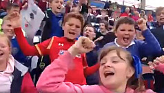 Watch: English kids cheer on the...