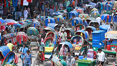 Dhaka city flooded with seasonal rickshaw...