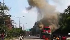 Watch: Double-decker bus catches fire...