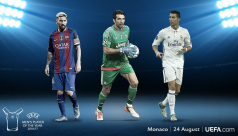 Buffon, Messi and Ronaldo on UEFA player...