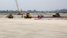 Construction work for metro rail tracks,...
