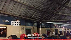 Train collides with platform shed at...