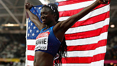 Bruised Bowie wins 100m final, now shoots...