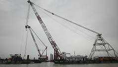 Padma Bridge's first span installation...