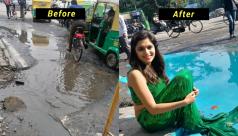 Bengaluru Artist transforms pothole...
