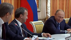 Putin bursts out laughing at suggestion...