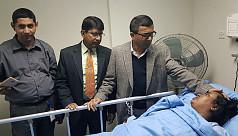 Obaidul Quader visits stabilized Ivy at Labaid Hospital