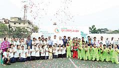 Dhaka girls, Rajshahi boys lift football...