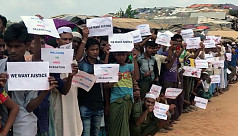 Rohingya refugees demonstrate during...