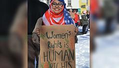 Muslim woman protests discrimination...