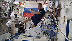 Russian cosmonauts get their kicks with...