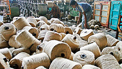 Jute factory workers demonstrate over...