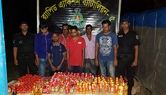 5 held with 9,461 bottles of liquor...