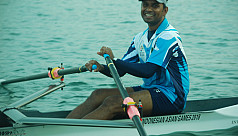 Bangladesh's lone rower at the...
