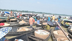 Floating rice market in Barisal's...