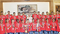 PM felicitates Bangladesh U-15 boys...