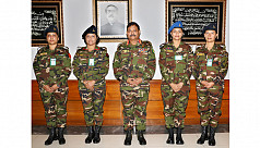 Four female Bangladesh Army officers...