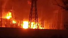 Power grid substation catches fire in...