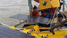 A solar powered boat that runs for three...