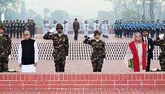 President Hamid, PM Hasina pay homage to Liberation War heroes