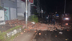 Wall collapses during thunderstorm in...