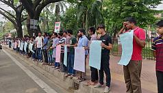 BracU students hold human chain demanding justice for Labanayya