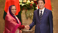 Hasina at Abe's office; guard of honour...