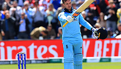 Roy reaches ton with boundary, and collides...
