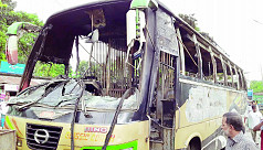 Bus torched over death rumour in road...