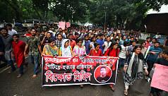 DU students protest demanding justice...