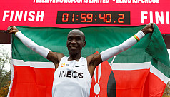 Kipchoge first to run marathon in under two hours