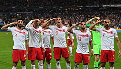 Turkey players salute Syria operation...