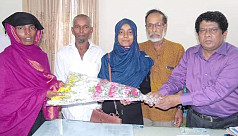 Meritorious girl receives grants from Chandpur district administration