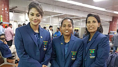 Women cricketers depart for SA...