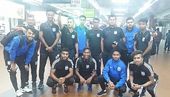 Booters reach Muscat after flight...