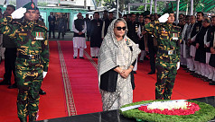 PM pays homage to Bangabandhu, four national leaders