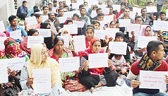 BSMRSTU employees continuing sit-in protest demanding due payment