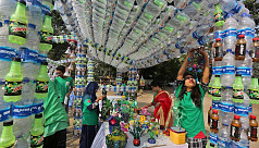 In pictures: Exhibition on 30lakh plastic bottles collected as waste