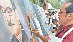 Painting on a 100 feet canvas in Gopalganj