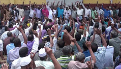 Khulna jute mill workers stage demo...