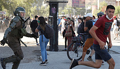 Blinded by rubber bullets, Chilean student...