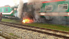 Fire at Parabat Express train...