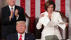 Trump snubs Pelosi, she tears up his speech as impeachment trial nears end