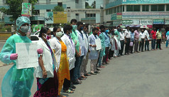 Healthcare workers demonstrate in Jessore