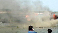 Boat set on fire for ferrying passengers...
